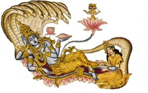afb. Narayana (Vishnu) -Yoga Nidra-de yoga slaap